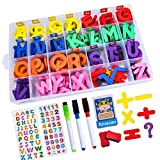 YBQZ Magnetic Letters Set, Classroom Alphabet Letters Kit with 2 Double-Side Magnet Boards, Movable Lowercase & Uppercase, Magnetic Eraser, 1 Number & Letter Stickers Set, for Preschool Kids Ages 3+