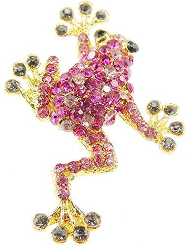 Glamour Girlz dama elegante Rana Rhinestone Colored broche en 6colores, rosa, talla única