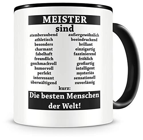 Samunshi® Meister sind Tasse Beruf Geschenk Kaffeetasse Teetasse Kaffeepott Kaffeebecher Becher (Meister sind. 300ml schwarz/schwarz)