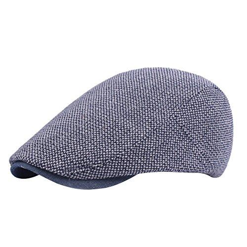 Demarkt Herren Baskenmütze Schirmmütze Schiebermütze Schlägermütze aus Baumwolle Hutumfang von 58cm Blau