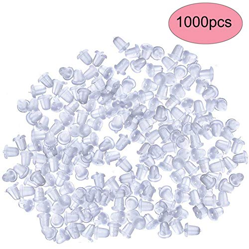 StaiBC Clear Rubber Bullet Clutch Earring Safety Backs, Pack of 1000