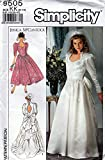 Simplicity 9505 Sewing Pattern for Misses 8-10-12-14 Wedding Bridal Gown Dress with Chapel Train, or Tiered Back Flounced Bow Attached Inner Petticoat, Lined Princess Bodice, Sweetheart Neckline Front, with High Back Neckline & Diamond Cut-out