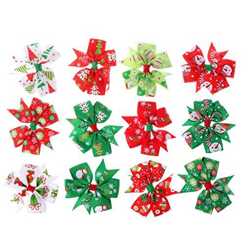12 horquillas de Navidad con lazo para el pelo para niños y niñas