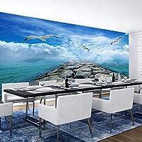 3D写真の壁紙北欧のモダンなリビングルームレストランキッチンビーチカモメの風景防水壁紙の装飾壁画-300x210cm