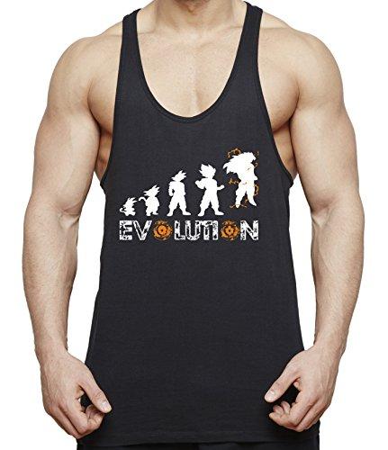 WhyKiki Evolution Son Goku Camiseta de Tirantes para Hombre Dragon Master Ball Vegeta Turtle Roshi, Farbe2:Negro;Größe2:XXL