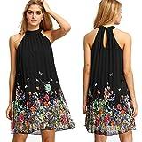 TianSe Summer Sleeveless Open Shoulder Round Neck Print Chiffon Dress (S) Black