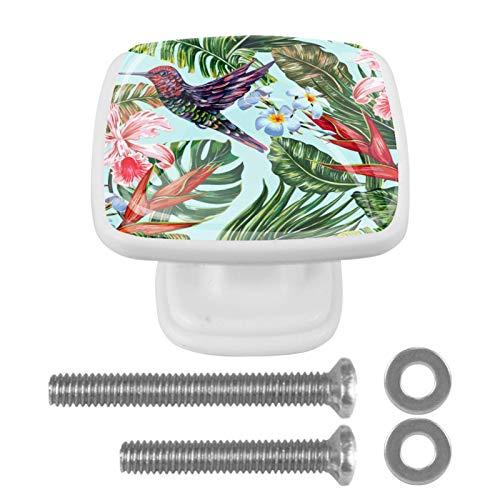 Tiradores cuadrados para armario con superficie de vidrio/tiradores de muebles con tornillos, estilo europeo contemporáneo, paquete de 4 unidades, diseño de flores tropicales