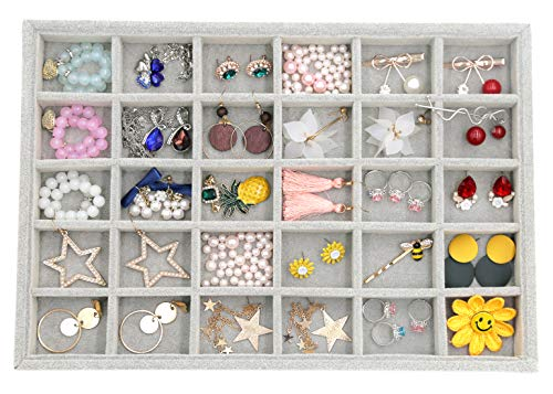 Outdoorfly Velvet Stackable 30 Grid Jewelry Tray Display Removable for Jewelry Earring Organizer Storage Showcase for Drawers(30 Grid)