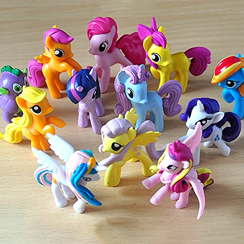 My Little Pony Toys Meet The Mane12 Action Figure Mini Dolls, Cake Topper,Play Dolls PVC Action Figures Toy Dolls Decoration