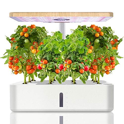 Ulikey Hydroponisches Anzuchtsystem, Smart Indoor Garden mit LED-Gewächshauslicht, 12 Hülsen Indoor Kräutergarten Gartenpflanzer mit Automatisch Timer, Garden Pflanzgefäß Ausrüstungs (Weiß)
