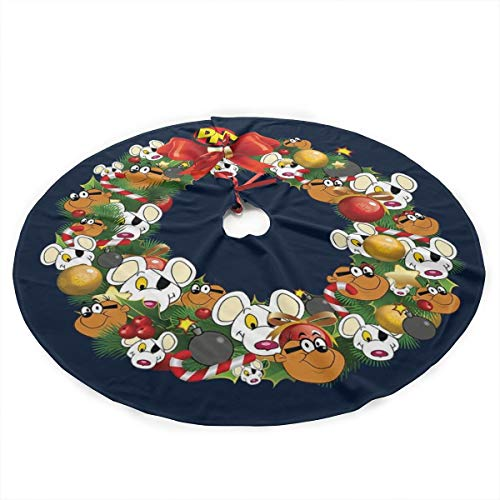Christmas Multiface Wreath Danger Mouse Plush Fabric Christmas Tree Skirt 36 Inch Holiday Home Decor ,Soft, Light and Good to Touch