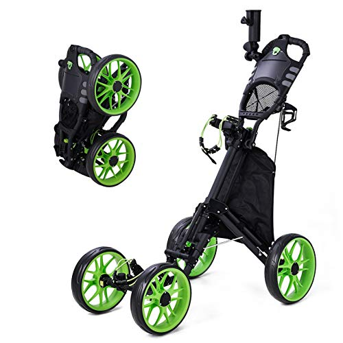 4 Wheel Golf Push Pull Cart One Click Folding Compact Golf Push Cart with Umbrella Stand Foot Brake Cup Holder Adustable Handle Storage Bag Scorecard Holder Space for Golf Bags Free Umbrella