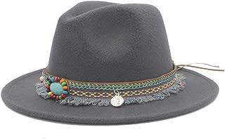 Sun Hat for men and women Fashion Men Women Winter Wool Fedora Hat With Tassel Ribbon Panama Jazz Hat Wide Brim Hat Fascinator Size 56-58CM