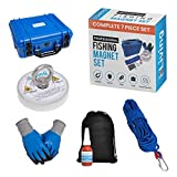 Premium Magnet Fishing Kit with Case 1000lb Pull Magnet for Salvage,Retrieval & Water Recovery River Magnet Fishing.Powerful Neodymium Fishing Magnet with Rope,Gloves,Magnetic Fishing Accessories Set