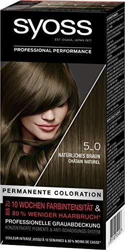 SYOSS Coloration, Haarfarbe Stufe 3 5_0 Natürliches Braun, bis zu 10 Wochen Farbintensität, 3er Pack (3 x 115 ml)