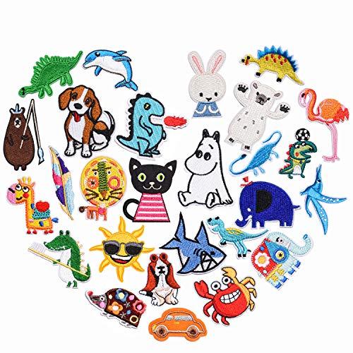 PHOGARY Tier Bügelbilder für Kinder, 27 STK. Patches zum Aufbügeln für Mädchen Jungs Baby, Aufgestickt Aufnähen Abzeichen für Jacken Jeans Tasche Schuhe Polo Hut (Nähset enthalten)