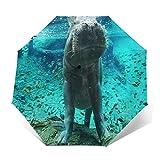 Paraguas Plegable Automático Impermeable Acuario Hipopótamo, Paraguas De Viaje Compacto a Prueba De Viento, Folding Umbrella, Dosel Reforzado, Mango Ergonómico