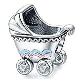 ZiFouDou Abalorio de Plata de Ley 925 para Pulsera Pandora Dijes Originales Charm - Cochecito de Bebé