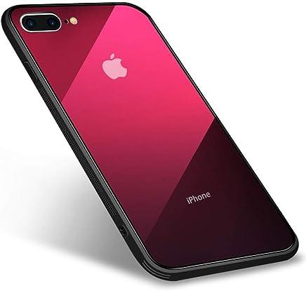 iPhone8plus/iPhone7plusケース 強化ガラスケース グラデーション 背面ガラス9H硬度+TPUバンパー 超薄超軽量 全面保護 カバー 光学メッキ加工 おしゃれ キズ防止 耐衝撃 ストラップホール付き レッド