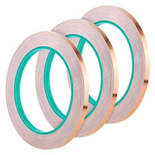 AIEX 3 Rollen 6mm Kupferfolienband Doppelseitig supraleitendes Klebend für Emi-Abschirmung Glasmalerei Elektrische Reparaturen Schneckenschutz Erdung