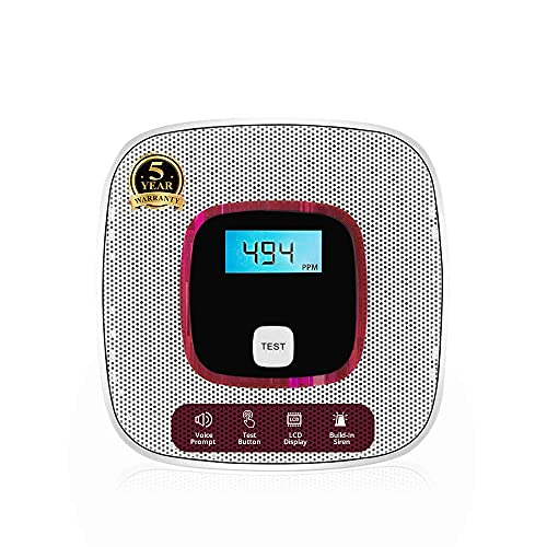 Carbon monoxide detector alarm - with digital lcd display and voice warning battery powered