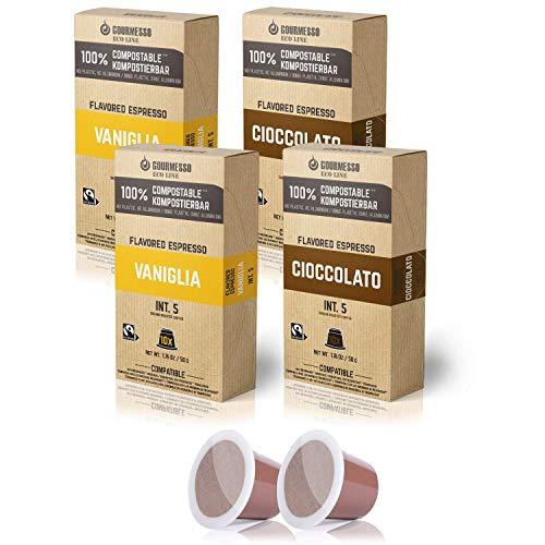 Gourmesso Eco Line 40ct Flavored Espresso Capsules   100% Compostable Coffee Pods Compatible with Nespresso Original Machines   20 Vanilla & 20 Chocolate Fair Trade Espresso   Biodegradable