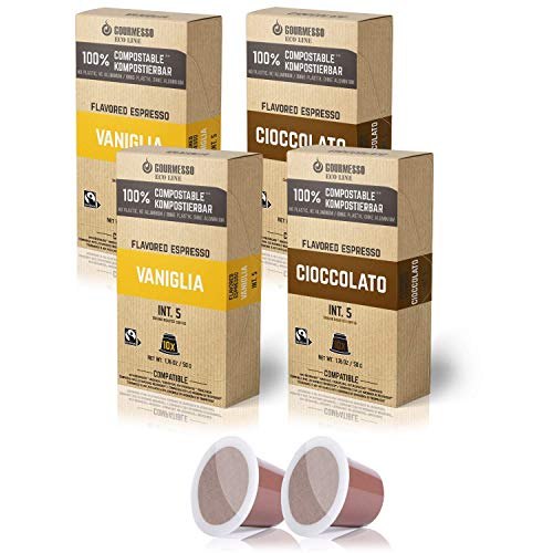 Gourmesso Eco Line 40ct Flavored Espresso Capsules | 100% Compostable Coffee Pods Compatible with Nespresso Original Machines | 20 Vanilla & 20 Chocolate Fair Trade Espresso | Biodegradable