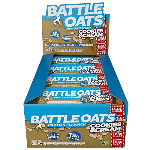 Battle Oats High Protein Flapjack, 12 x 70 g Protein Bars - Cookies and Cream