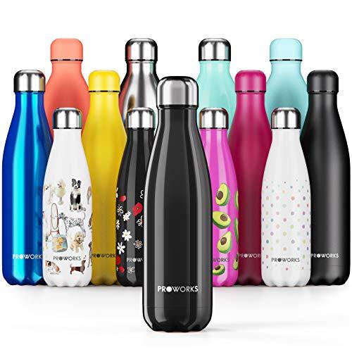Proworks Edelstahl Trinkflasche | 24 Std. Kalt und 12 Std. Heiß - Premium Vakuum Wasserflasche - Perfekte Isolierflasche für Sport, Laufen, Fahrrad, Yoga, Wandern und Camping - 1 Liter - Schwarz