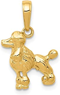 14ct Yellow Gold Textured Polished Open back Poodle Animal Pet Dog Pendant Necklace Measures 18.5x12.9mm Jewelry Gifts for...