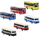BS150 6pcs Diecast Model Buses Car 1:160 N Scale Streetscape Layout Railway Scenery DIY Train Layout Model Accessories