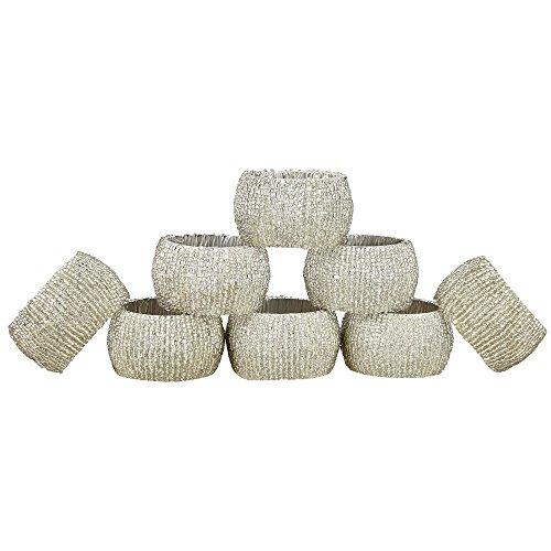 Shalinindia Handmade Indian Silver Beaded Napkin Rings