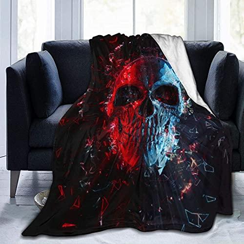 Manta de Felpa Suave Cama Cráneo Brillante polígono Azul Rojo Manta Gruesa y Esponjosa Microfibra, Suave, Caliente, Transpirable para Hogar Sofá , Oficina, Viaje