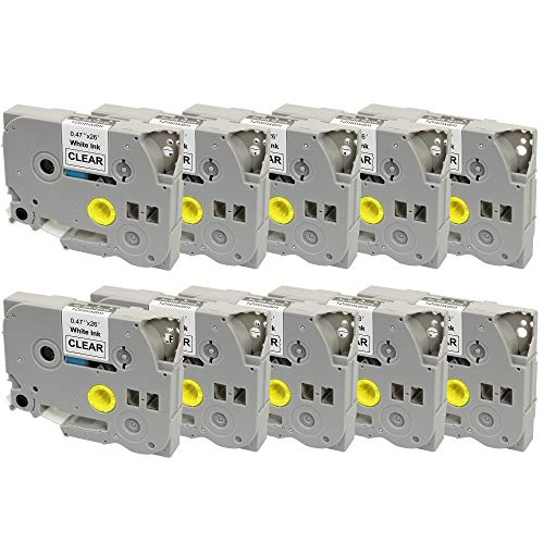10 x Compatible TZ135 White on Clear Label Tapes (12mm x 8m) for Brother P-Touch TZ Label Printers