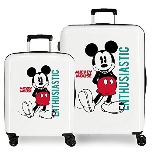 Disney Mickey Enthusiastic Juego de Maletas Blanco 55/68 cms Rígida ABS Cierre TSA 119,4L 6 kgs 4 Ruedas Dobles Equipaje de Mano