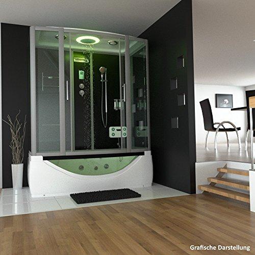 TroniTechnik Dampfdusche Duschtempel Whirlpool Badewanne Komplettdusche Duschkabine Dusche 170×90 schwarz - 2
