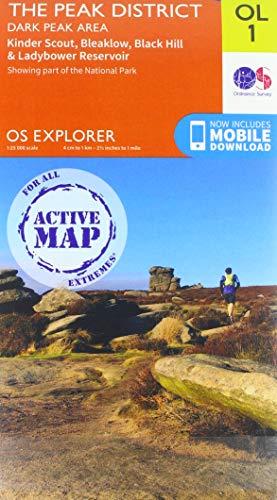 OS Explorer Map Active OL1 The Peak District: Dark Peak Area (OS Explorer Active)