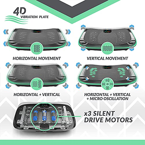 4D Triple Motor Vibration Plate | Powerful | Magnetic Therapy Massage | Curved Surface | 4.0 Bluetooth Speakers | Vibration Oscillation & Micro Vibration | 3 Silent Drive Motors (Black)