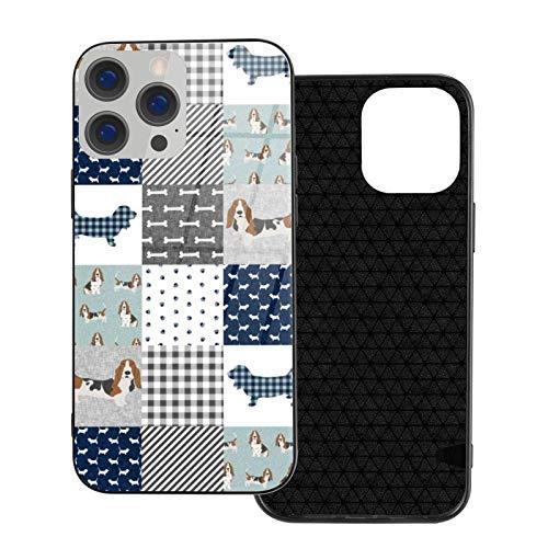 MEUYGOFLZ Compatible con iPhone 12 Pro Max, carcasa de cuerpo completo, carcasa de cristal TPU suave para iPhone 12 Pro Max 6.7 pulgadas, Basset Hound Pet Dog Raza de perro entera