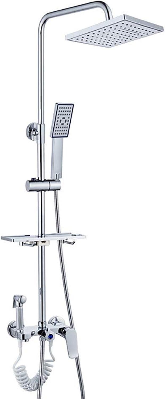 YGXR Duschset Duschsystem Regenduschset Shower Set, Edelstahl mit Kopfbrause Duschpaneel Wandhalterung Duschkopf Handbrause Hhenverstellbar Vier Datei Anpassung Wasserstand