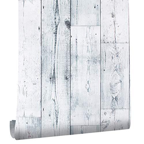 Homye Holztapete Selbstklebende Klebefolie, 0.45 * 6M Verdickte Küchenschrank Aufkleber Holz Möbelfolie für Möbel Schrank Tische Wand Folie Tapete Dekofoli (45cm x 6M, Weiß)