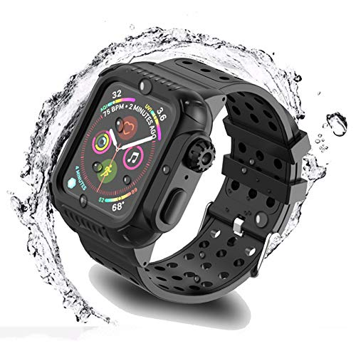 Waterproof Case for iWatch 38mm 40mm 42mm 44mm with Premium Soft Silicone Band, Built-in Screen Protector Full Body Rugged Armor Case, Anti-Scratch, Shockproof, for Apple Watch (38mm/1.50 inch)