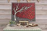 3D wedding guestbook alternative albero legno personalizzato unico libro degli ospiti cuori bordeaux autunno libro degli ospiti matrimonio rustico in legno di albero della vita Gift 50x60cm(20'x24')