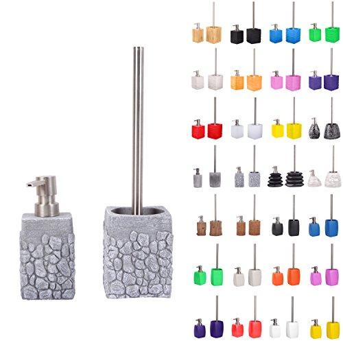 Set di accessori per il bagno | Dosatore di sapone e Scopino WC | Materiale di alta qualita | che attira l'attenzione in ogni bagno (Grey Stone Set)
