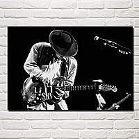 スティービーレイヴォーン音楽ギターミュージシャンポートレートアートキャンバスポスターとプリントHD油絵壁画リビングルーム家の装飾フレームレス絵画