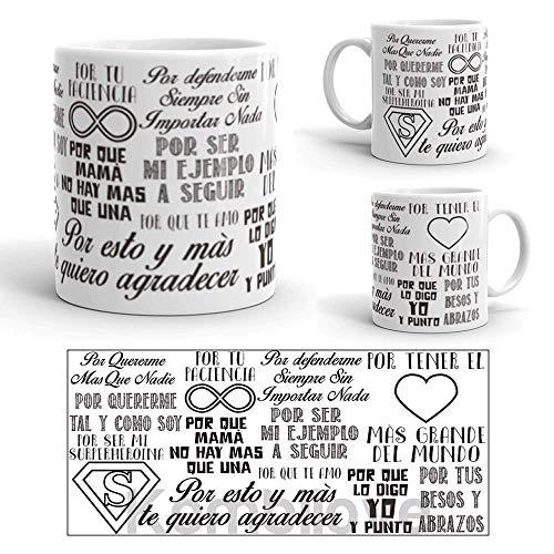 Kembilove Tazas Desayuno para Regalar el día de la Madre – Taza Desayuno con Frase Mamá Eres mi Superheroína – Taza de Café para Mamá Personalizada – Regalos Originales para Cumpleaños
