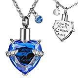Cremation Urn Necklaces for Ashes Always in My Heart Heart Jewelry Memorial Pendant Birthstone Necklace Ash Holder Stainless Chain with Fill Kit and Gift Bag- I Love You to The Moon and Back Virgo