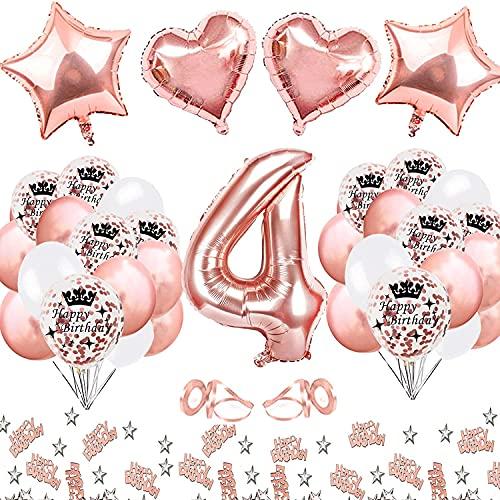 MMTX Decoracion Cumpleaños 4 Año Niña Oro Rosa Primer Cumpleaños Niña Globos De Cumpleaños 4 Año Confeti De Feliz Cumpleaños Con Globo De Lámina De Corazón De Estrella Para 14 24 34 40 44