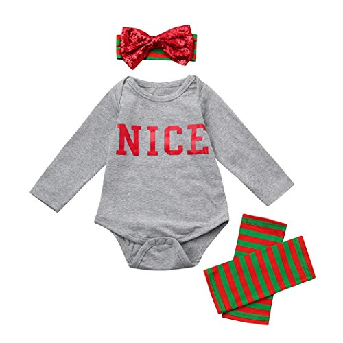 LNGRY Newborn Infant Toddler Baby Girl Boy Romper Tops+Leg Warmer Outfits Set (0-3 Months, Gray)
