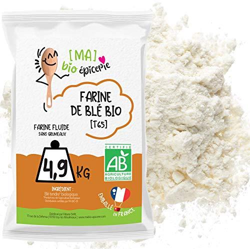 [MA] BIO-EPICERIE | Harina de trigo blanca T65 BIO | Suelto en confección de 4,9 Kg | Certificado orgánico | Ideal para pan, pizza, pastelería y salsas
